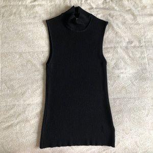 St JOHN Mock Neck Sleeveless Wool Sweater Top
